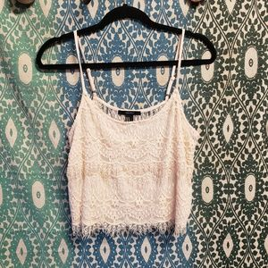 Forever21 M cream lace tank